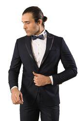 Yaka Saten Şeritli Damatlık Takım Elbise   Wessi - Thumbnail