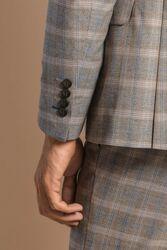 Yelekli Ekoseli Bej Takım Elbise | Wessi - Thumbnail