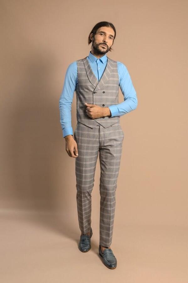 Yelekli Ekoseli Bej Takım Elbise | Wessi