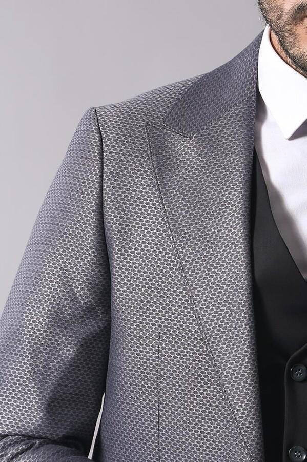 Yelekli Kombinli Gri Takım Elbise | Wessi