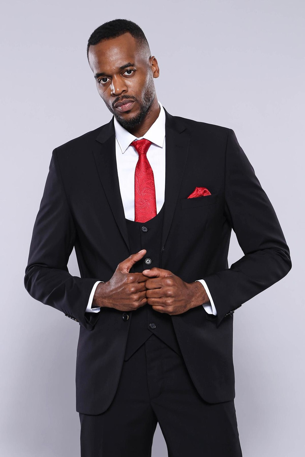 Yelekli Siyah Erkek Takım Elbise | Wessi