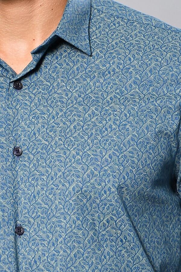 Desenli Yeşil Uzun Kollu Gömlek | Wessi