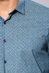 Desenli Yeşil Uzun Kollu Gömlek | Wessi - Thumbnail