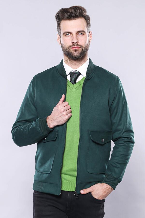 Yeşil Desensiz Erkek Bomber Mont | Wessi
