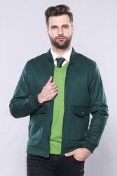 Yeşil Desensiz Erkek Bomber Mont | Wessi - Thumbnail