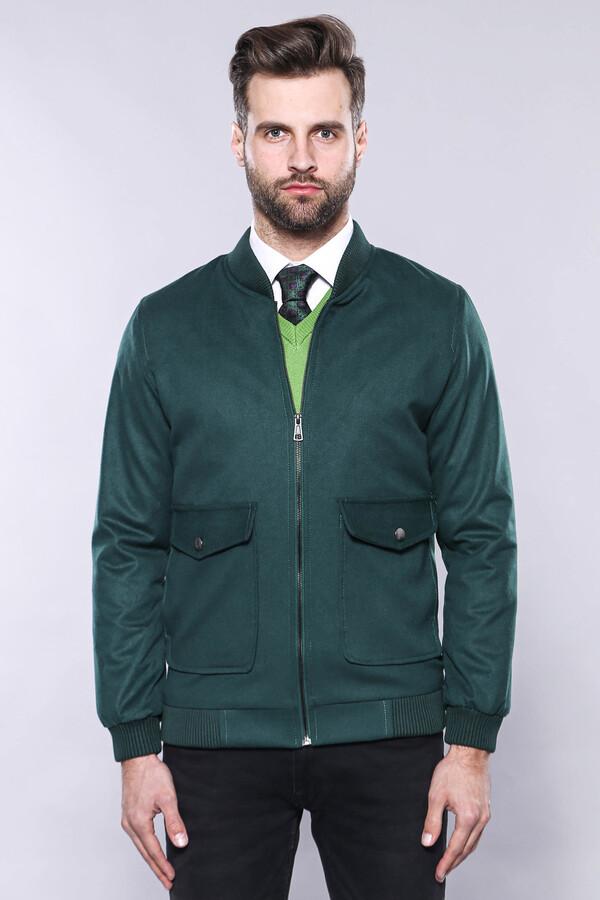 Yeşil Desensiz Erkek Bomber Mont   Wessi
