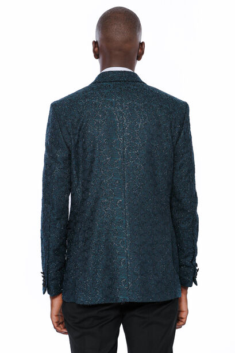 Sim Desenli Yeşil Damatlık Ceket | Wessi