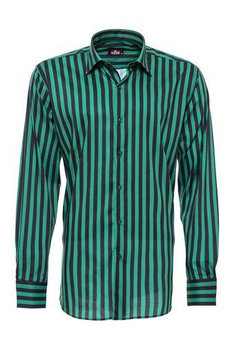 Yeşil Üzerine Siyah Çizgili Gömlek