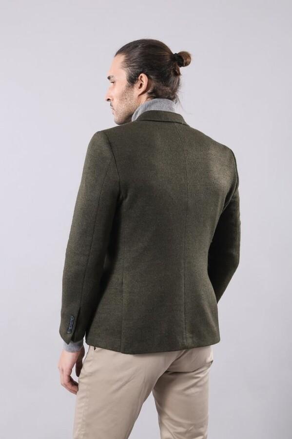 Yün Tek Düğmeli Yeşil Slim Fit Ceket | Wessi